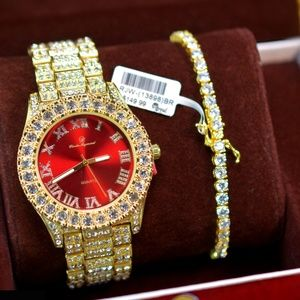 Other - Full Iced Out Red Dial Watch, Tennis Bracelet Set